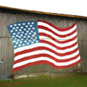 Flag And Barn - Painting Poster