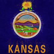 Flag Of Kansas Grunge Poster