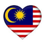 Flag Of  Malaysia Heart Poster