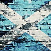 flag of Scotland painted on old brick wall Poster