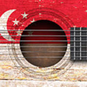 Flag Of Singapore On An Old Vintage Acoustic Guitar Poster