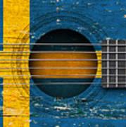 Flag Of Sweden On An Old Vintage Acoustic Guitar Poster