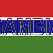 Flag Of The Gambia Word. Poster