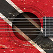 Flag Of Trinidad And Tobago On An Old Vintage Acoustic Guitar Poster