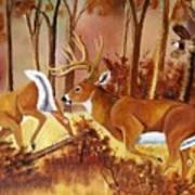 Flagging Deer Poster