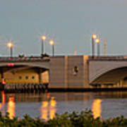 Flagler Bridge In Lights Panorama Poster