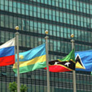 Flags Of Various Nations Outside The United Nations Building. Poster