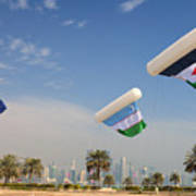 Flags Over Doha Poster by Paul Cowan