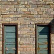 Flagstone Wall And Two Green Doors Poster