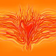 Flaming Heart Poster by David Kyte
