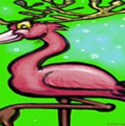 Flamingo Reindeer Poster