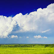 Flat Open Grassland And Sky Poster