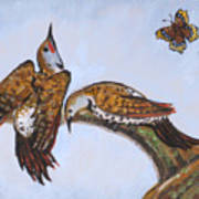 Flickers Dancing Wild Animal Vignette From River Mural Poster