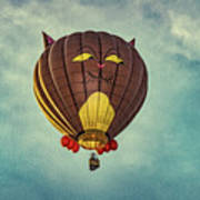 Floating Cat - Hot Air Balloon Poster