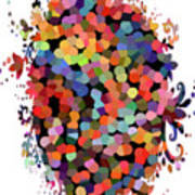 Floral Bouquet Abstract With Dots Poster
