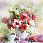 Floral Bouquet Table Setting In Tiny Bubbles Poster