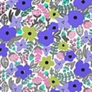 Floral Burst Of Blue Poster
