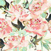 Floral Cranes Poster