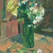 Floral Green Vase Poster