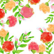 Floral Watercolor Border  Poster
