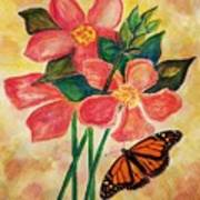Floral With Butterfly Poster