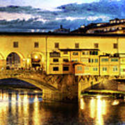 Florence - Ponte Vecchio Sunset From The Oltrarno - Vintage Version Poster