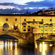 Florence - Ponte Vecchio Sunset From The Oltrarno Poster