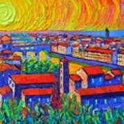 Florence Sunset 4 Modern Impressionist Abstract City Impasto Knife Oil Painting Ana Maria Edulescu Poster