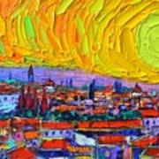 Florence Sunset 5 Modern Impressionist Abstract City Impasto Knife Oil Painting Ana Maria Edulescu Poster