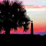 Florida Lighthouse Sunset Silhouette Poster