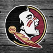 Florida State University Seminoles Logo On Weathered Wood Poster