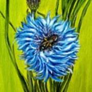 Flower And Bee Oil Painting Poster