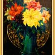 Bouquet For Mrs De Waldt H B With Decorative Ornate Printed Frame. Poster