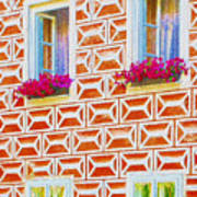 Flower Boxes In Slavonice Poster