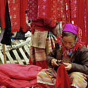 Flower Hmong Fabric Stall Poster