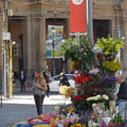 Flower Stand In Milan Poster