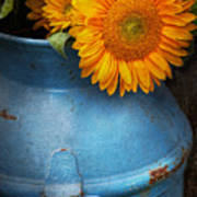 Flower - Sunflower - Little Blue Sunshine  Poster