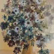 Flower Vase Original Watercolor Poster