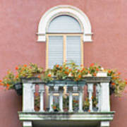 Flowered Italian Balcony Poster