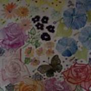 Flowers And Butterfly Poster