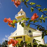 Flowers And Church On Takapoto Atoll Poster