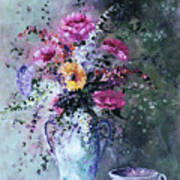 Flowers And Tea Poster