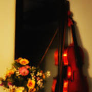 Flowers And Violin Poster