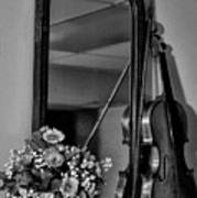 Flowers And Violin In Black And White Poster