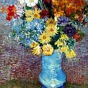 Flowers In A Blue Vase  Poster