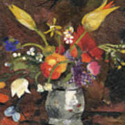 Flowers in a silver vase Poster