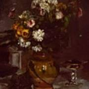 Flowers In A Vase And A Glass Of Champagne Poster
