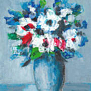 Flowers In Blue Vase Poster
