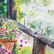 Flowers in Morning Mist Poster