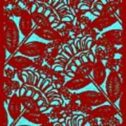 Flowers Indigo Red And Blue Poster